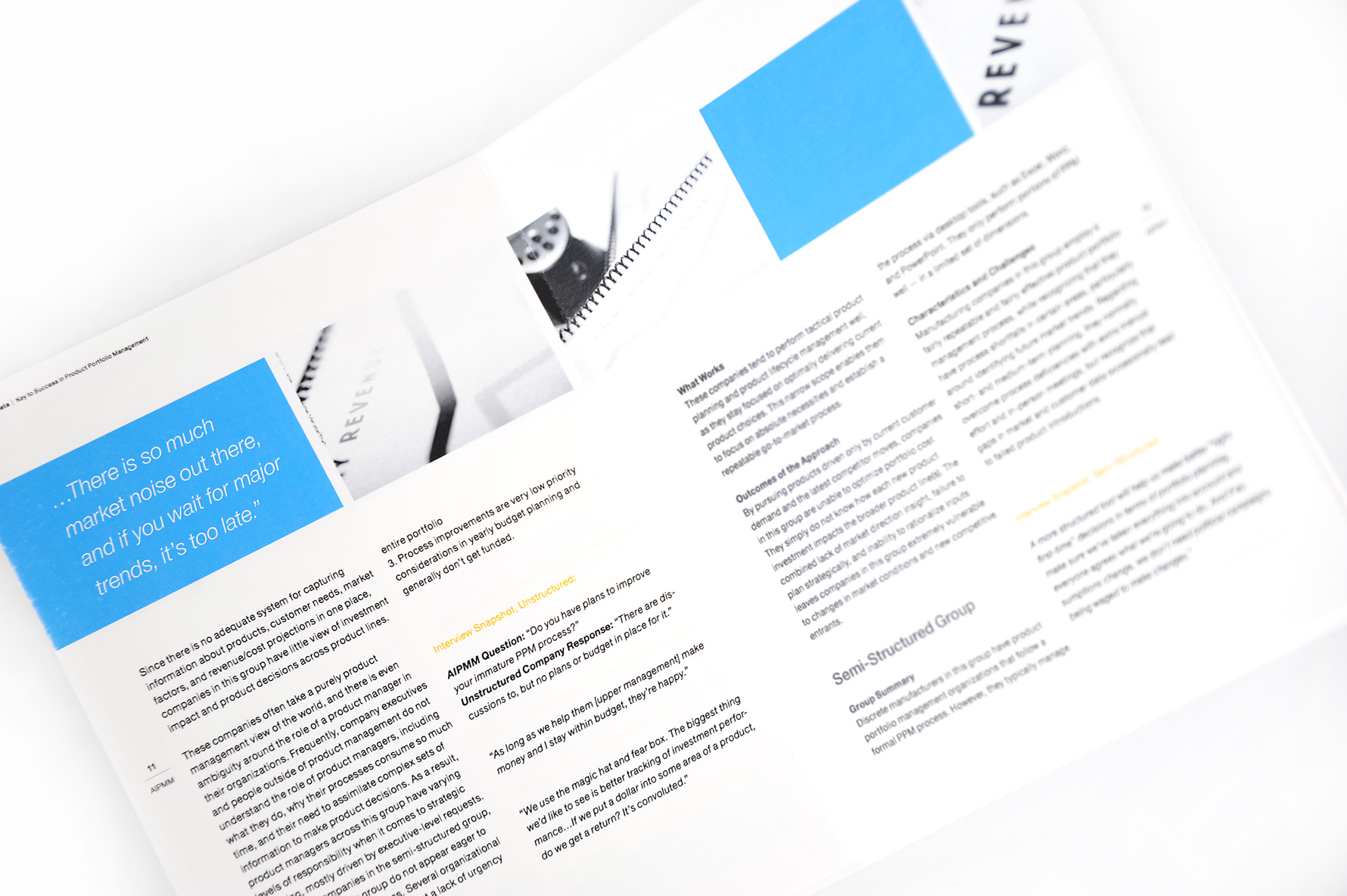 white paper design blue header