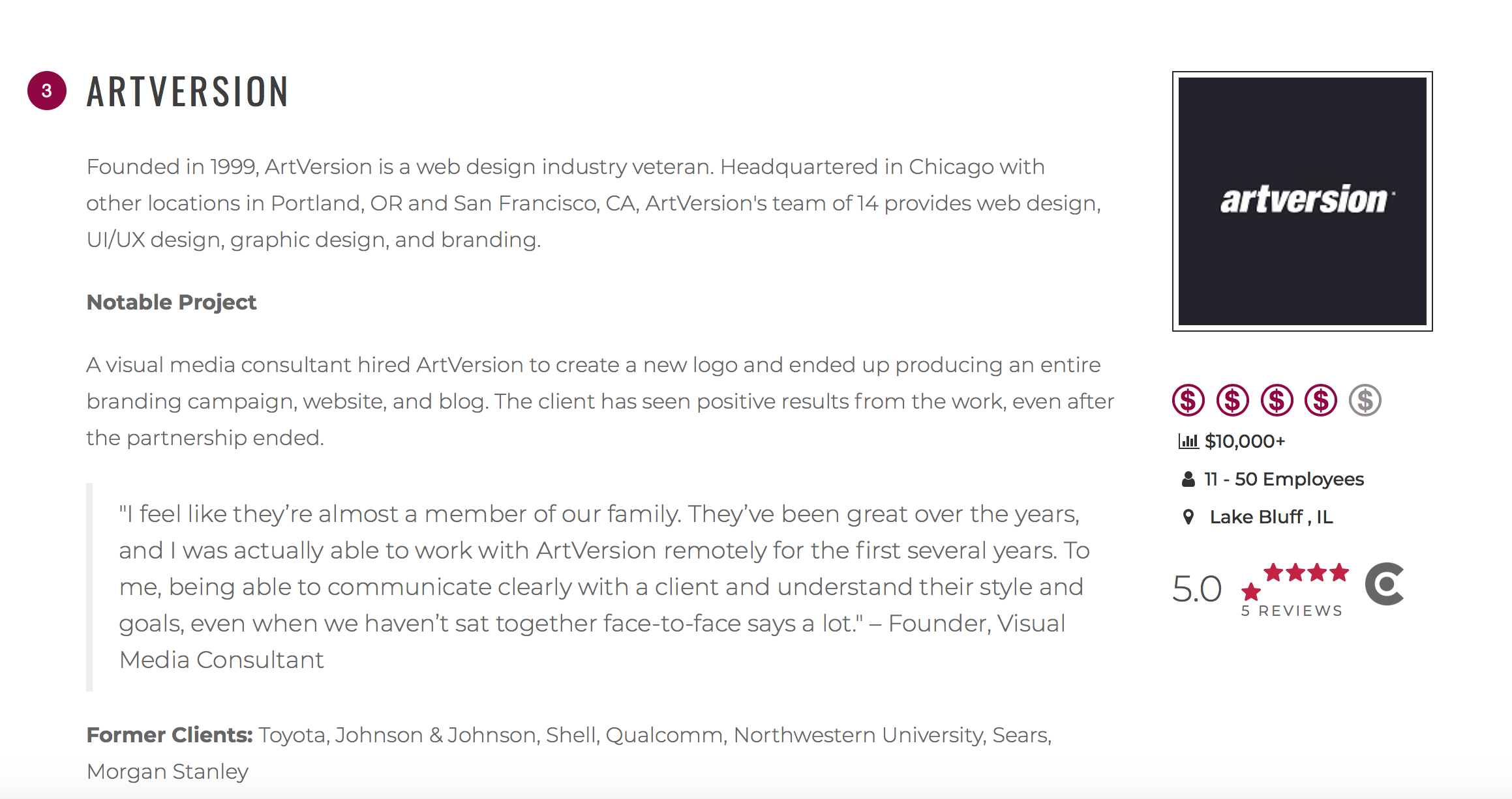 Artversion Named Among Best Web Designers In Chicago The Manifest